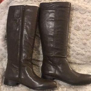 Olive green wide calf knee boots